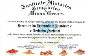 Iphan-MG recebe homenagem pelos 80 anos do Instituto