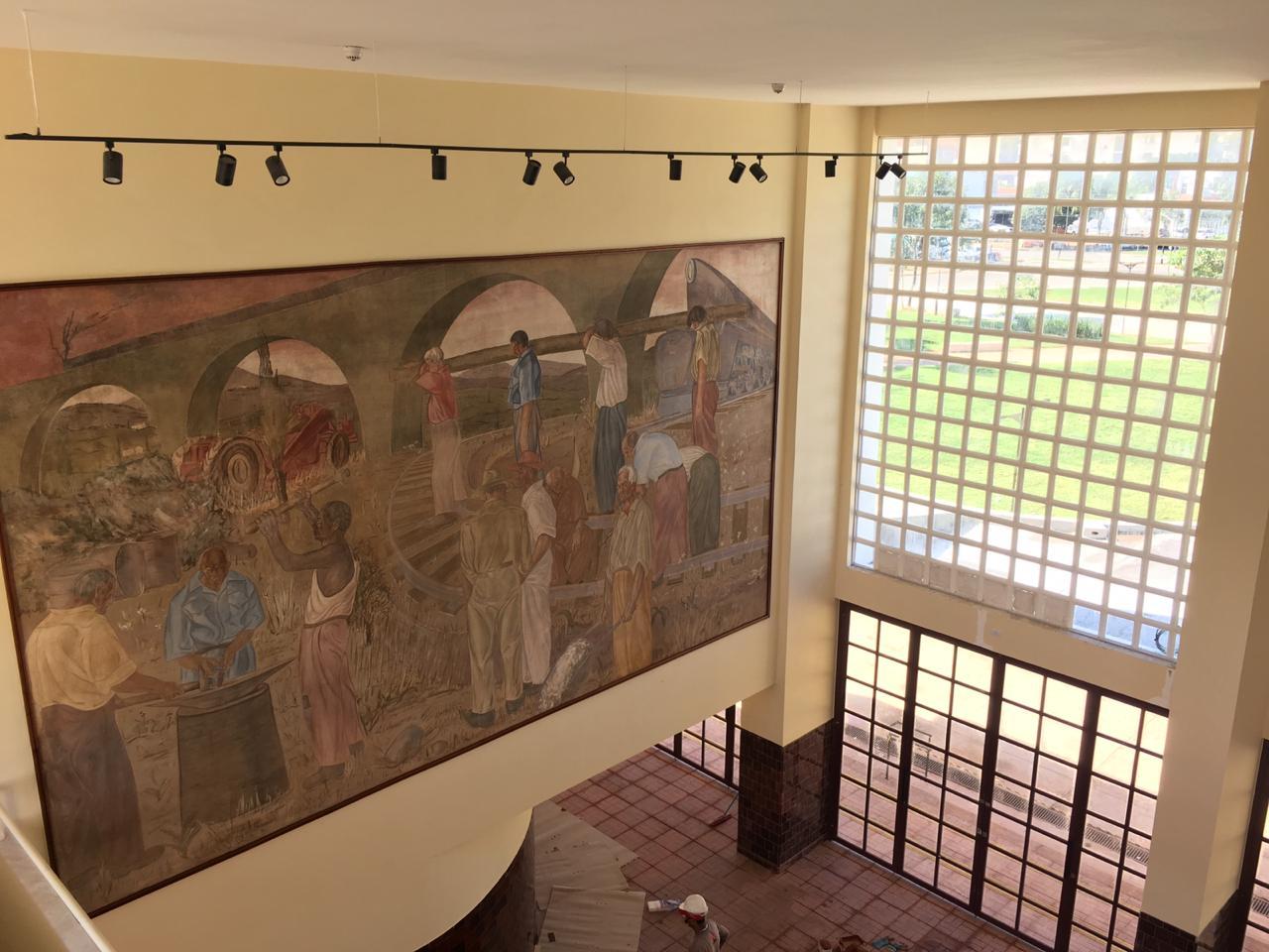 Na Estação Ferroviária, paineis de Frei Confaloni foram restaurados pelo Iphan