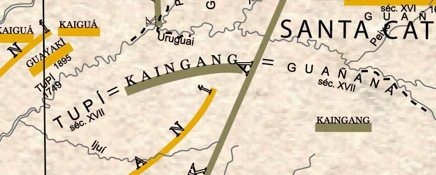Detalhes do Mapa Etno-Histórico (nova edição), com destaque para cores, tipografias e formas