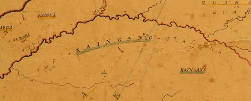 Detalhes do Mapa Etno-Histórico (versão original), com destaque para cores, tipografias e formas