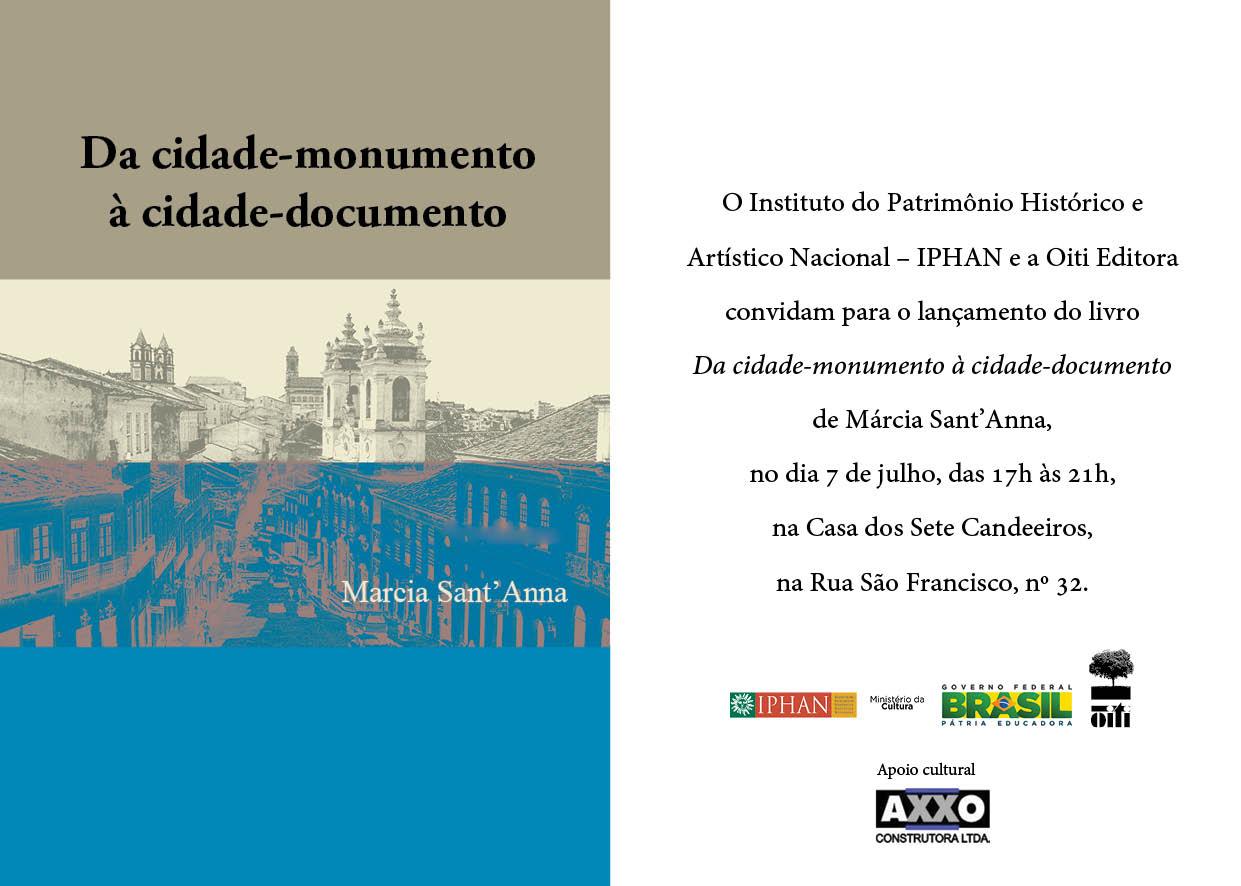 """Lançamento do livro """"Da cidade-monumento à cidade-documento"""""""